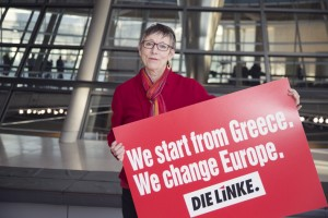 Die Linke's photo campaign in Berlin for supporting Syriza