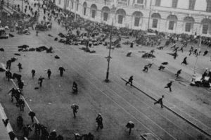 Petrograd (Saint Petersburg), July 4, 1917. Street demonstration on Nevsky Prospekt just after troops of the Provisional Government have opened fire.