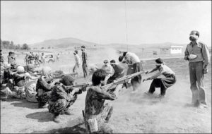Iranian regime forces execute Islamic-leftist Mojahidin-e-Halq militants, 1982.