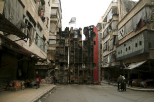 A barricade in Aleppo: Reuters.