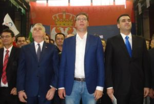 Tomislav Nikolic and Aleksandar Vucic at a conference in Kragujevcu. Courtesy to http://www.kurir.rs/