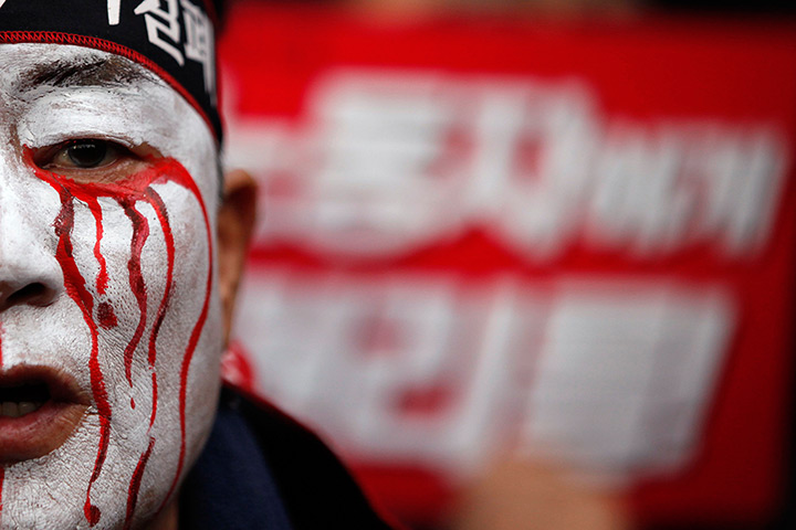 Seoul, South Korea: Trade Unions protester
