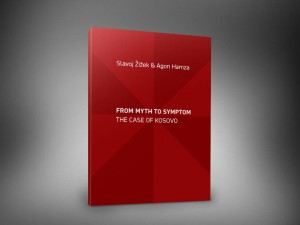 Book cover: From Myth to Symptom, the Case of Kosovo, by Slavoy Zizek and Agon Hamza, KMD, Pristina, 2013