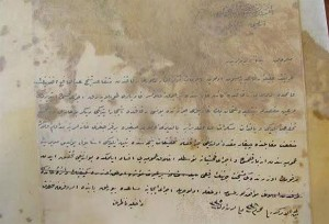 An Ottoman document apparently not faring too well in its new home. Source: T24 news.