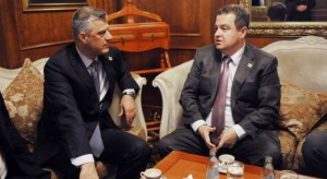 Hashim Thaci and Ivica Dacic meet to discuss proposals for autonomy for the Serbian community of Kosovo. Photo credit: GazetaExpress.com