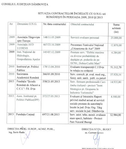 contracte făcute de CJ Dâmboviţa cu ONG-uri