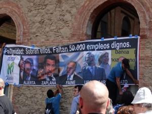 protest al salariatilor de la Telefonica, cu care s-a solidarizat Ada Colau